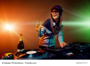 nightclub dj party with bubbly champagne and vinyl music playing